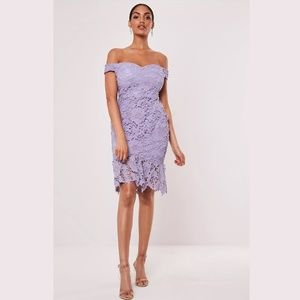 MISSGUIDED - Purple Floral Lace Bardot Midi Dress